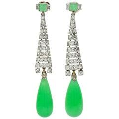 Art Deco Diamond Jadeite Jade Platinum Articulated Drop Screwback Earrings GIA