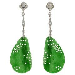Art Deco Diamond, Jadeite, Onyx and Rock Quartz Crystal Convertible Earrings