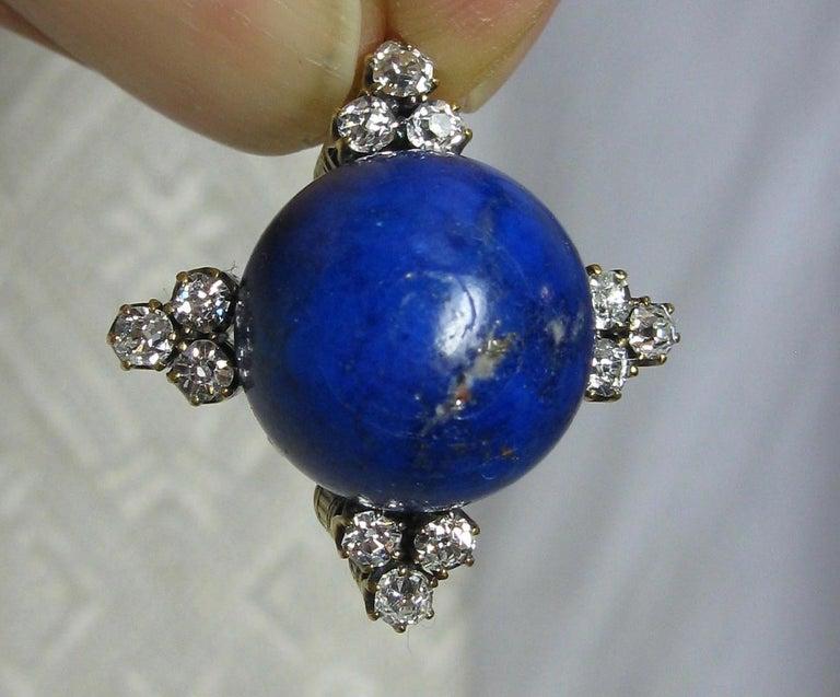 Art Deco Diamond Lapis Lazuli Pendant Old Mine Cut Diamonds Gold In Good Condition For Sale In New York, NY