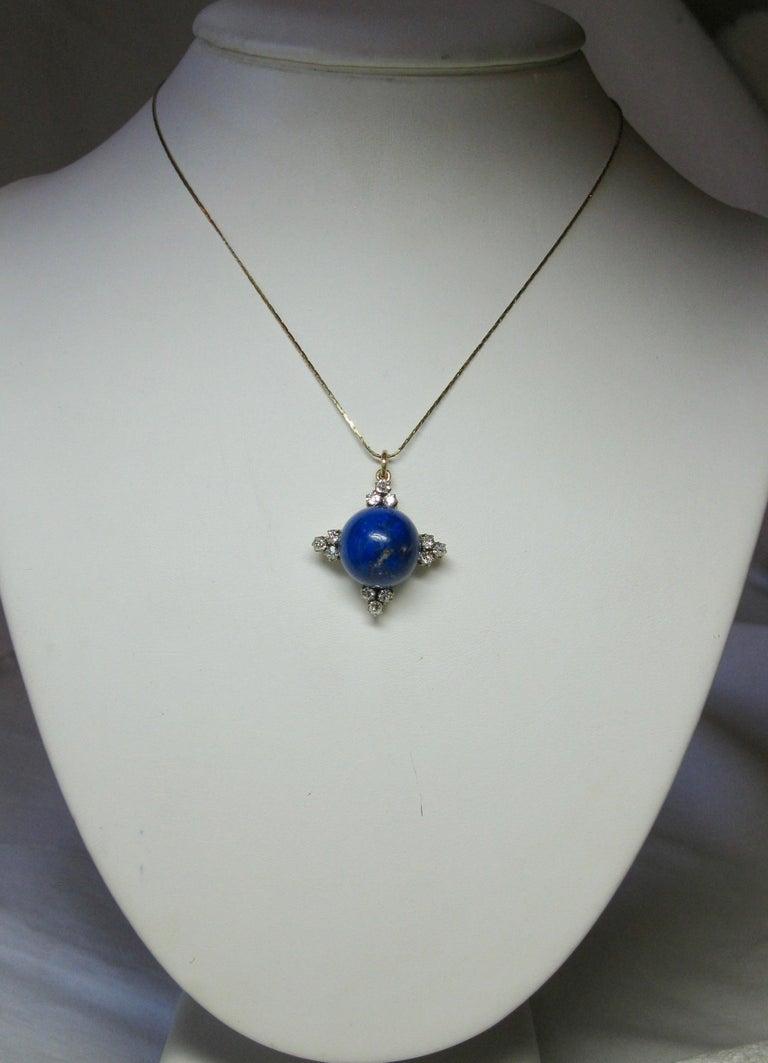 Women's Art Deco Diamond Lapis Lazuli Pendant Old Mine Cut Diamonds Gold For Sale