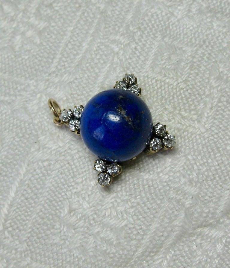 Art Deco Diamond Lapis Lazuli Pendant Old Mine Cut Diamonds Gold For Sale 1