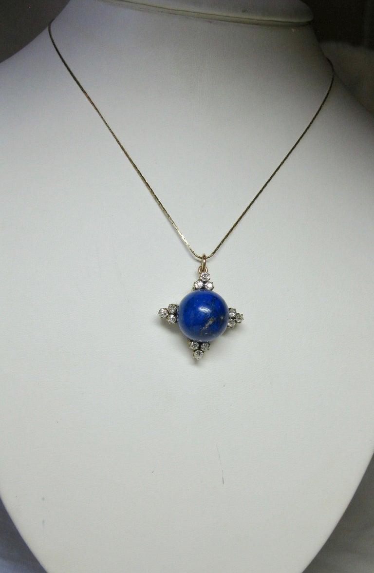 Art Deco Diamond Lapis Lazuli Pendant Old Mine Cut Diamonds Gold For Sale 2