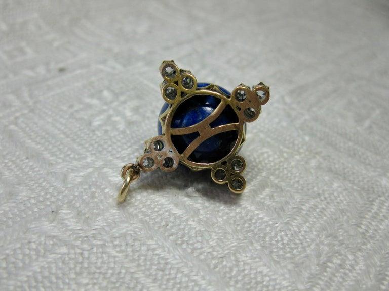 Art Deco Diamond Lapis Lazuli Pendant Old Mine Cut Diamonds Gold For Sale 3