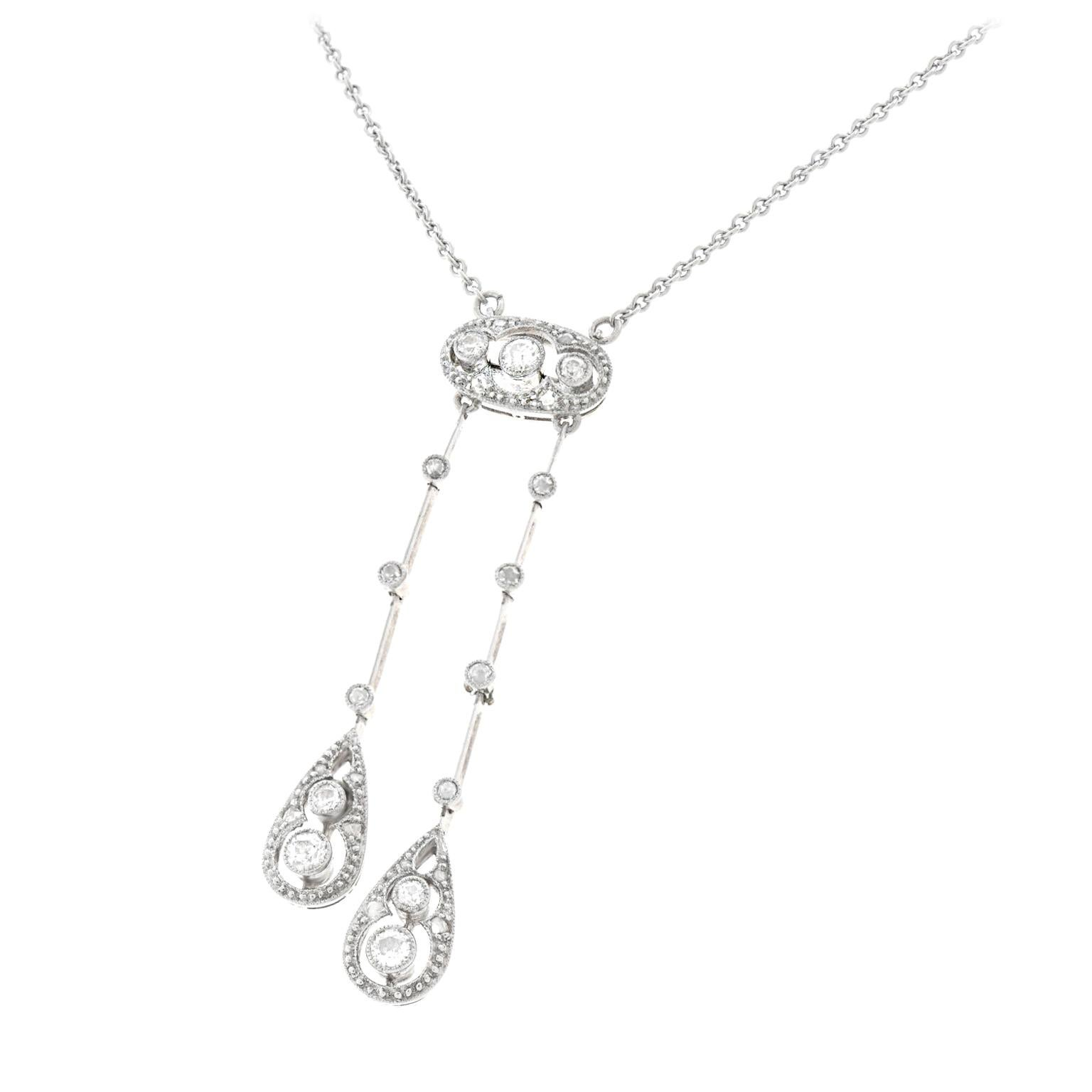 Art Deco Diamond Necklace Platinum over Gold