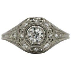Art Deco Diamond Octagon Platinum Filigree Engraved Antique Dome Engagement Ring