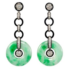 Art Deco Diamond, Onyx, and Jade Disc Pendant Earrings in Platinum