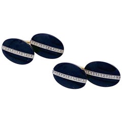 Art Deco Diamond Onyx Gold Platinum Cufflinks