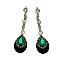 Art Deco Diamond Onyx Pendant Gold Drop Earrings