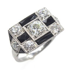 Art Deco Original Diamond Onyx Platinum Cocktail Ring