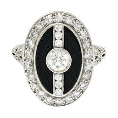 Art Deco Diamond Onyx Platinum Dinner Ring, Circa 1930's