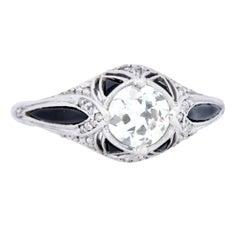 Art Deco Diamond Onyx Platinum Engagement Ring