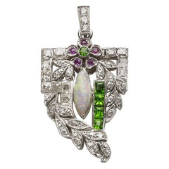 Art Deco Diamond, Opal and Green Garnet Pendant