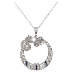 Art Deco Diamond Open Circle Diamond Bow Pendant Necklace Estate Fine Jewelry