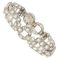 Art Deco Diamond Openwork Plaque Bracelet in Platinum