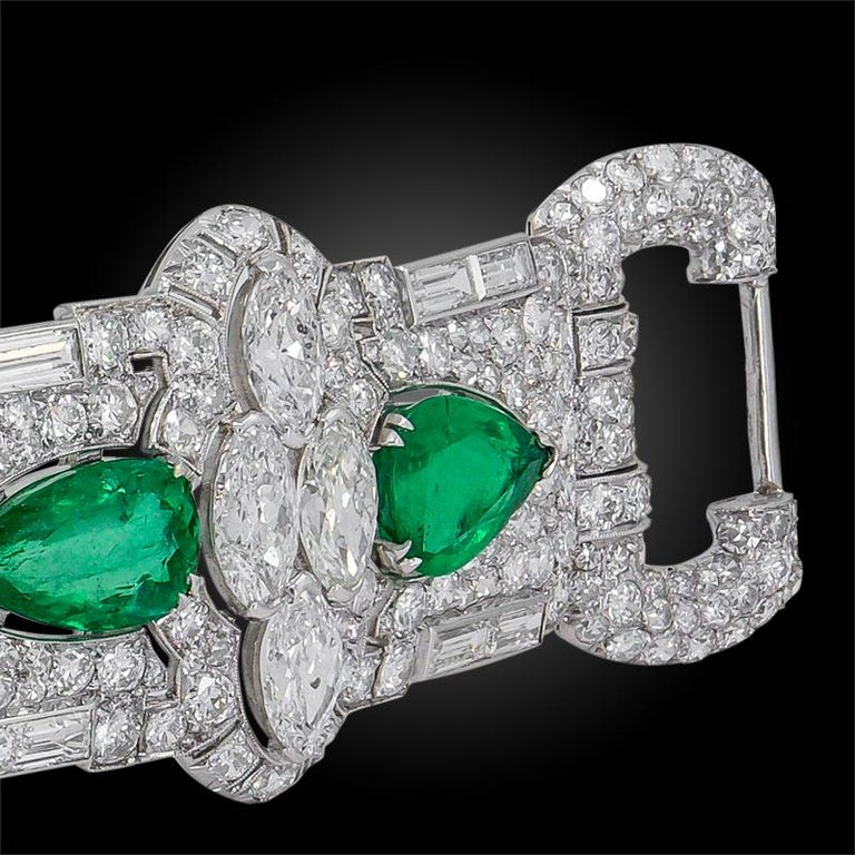 Women's Art Deco Diamond, Pear-Shaped Emerald Bracelet For Sale