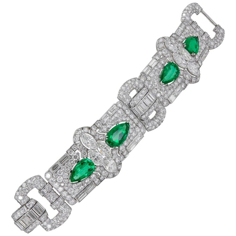 Art Deco Diamond, Pear-Shaped Emerald Bracelet For Sale