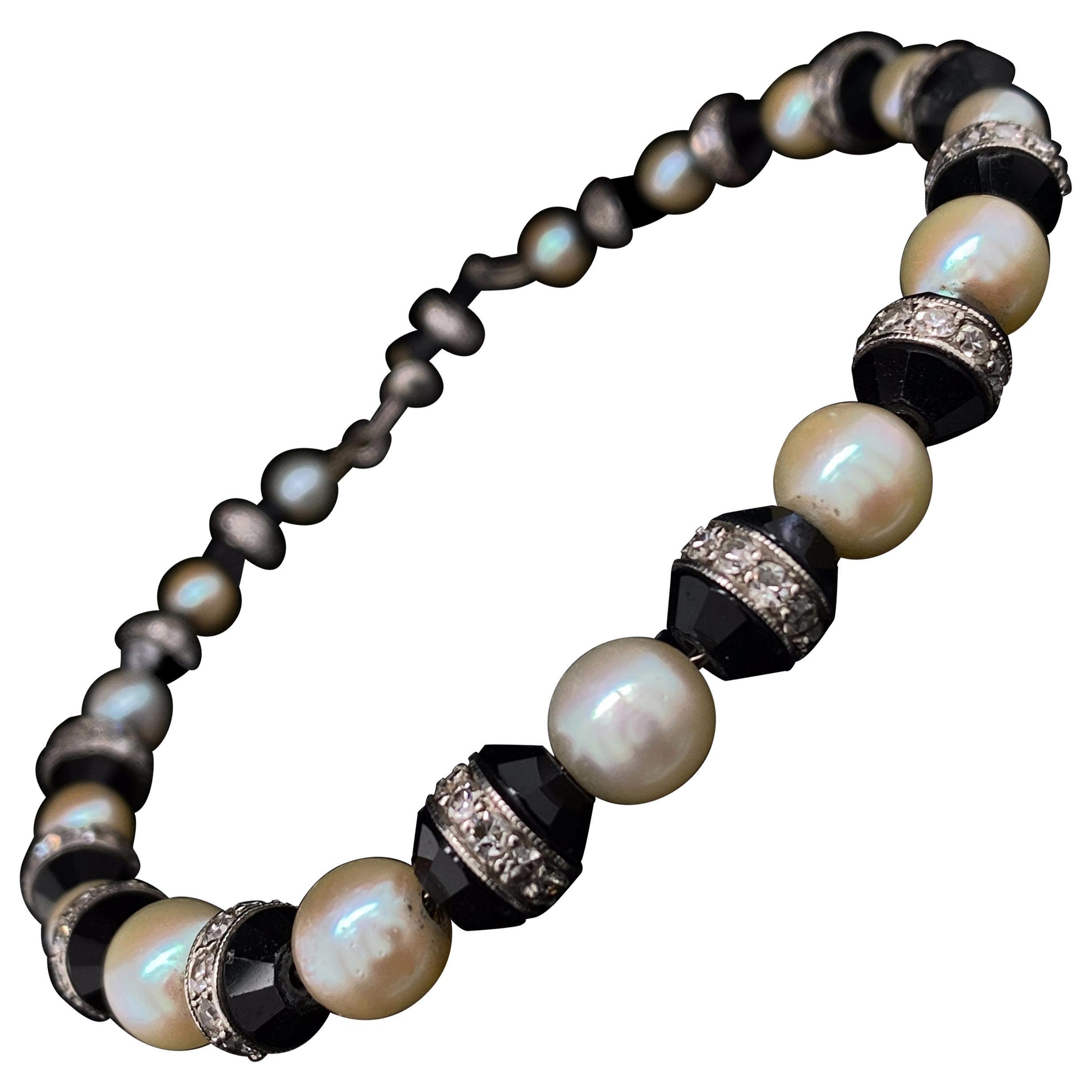 Art Deco Diamond, Pearl and Onyx Platinum Bracelet
