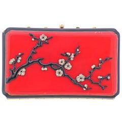 Art Deco Diamond Pearl Enamel Gold Make Up Vanity Case Box