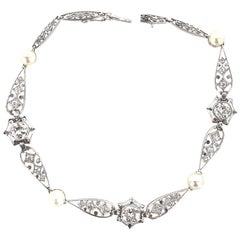 Art Deco Diamond Pearl Filigree Platinum Bracelet