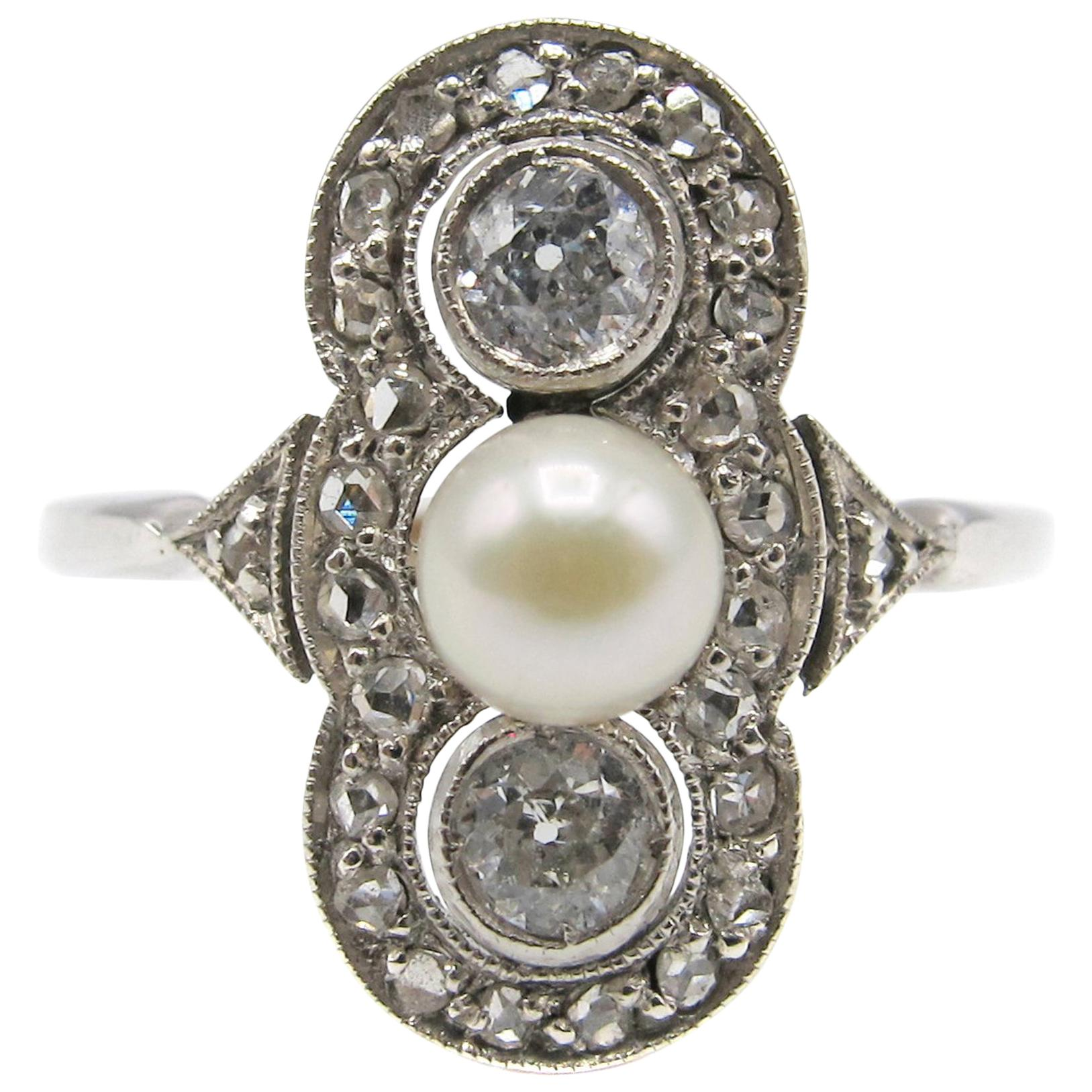 Art Deco Diamond Pearl Gold Ring