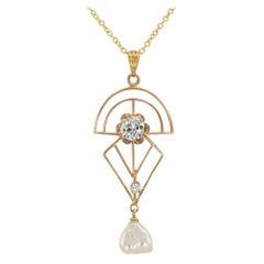 Art Deco Diamond Pearl Yellow Gold Lavalier
