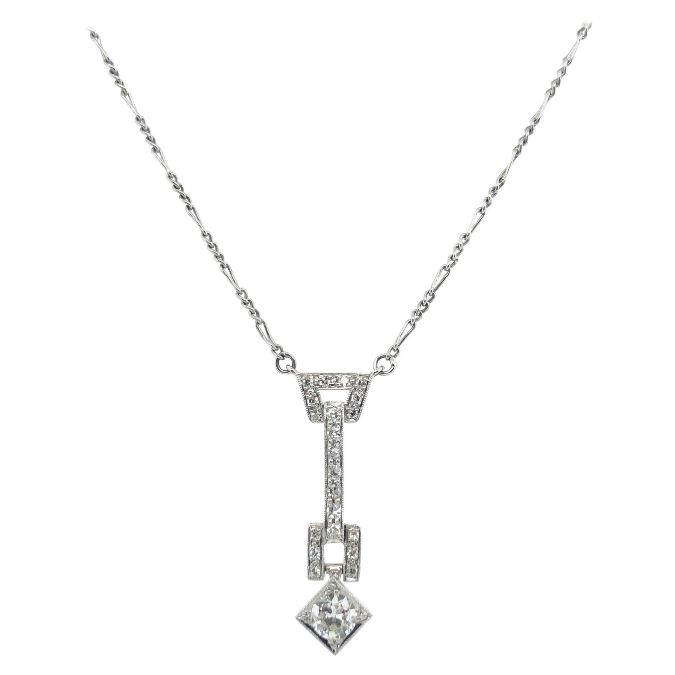 Art Deco Diamond Pendant Necklace in Platinum 950