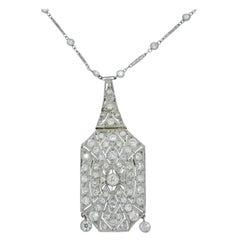 Art Deco Diamond Pendant with Long White Platinum Necklace