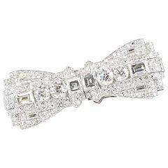 Art Deco Diamond Pin, Clip in Platinum