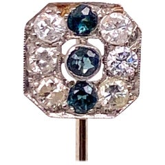 Art Deco Diamond Platinum 14 Karat Yellow Gold Stick Pin