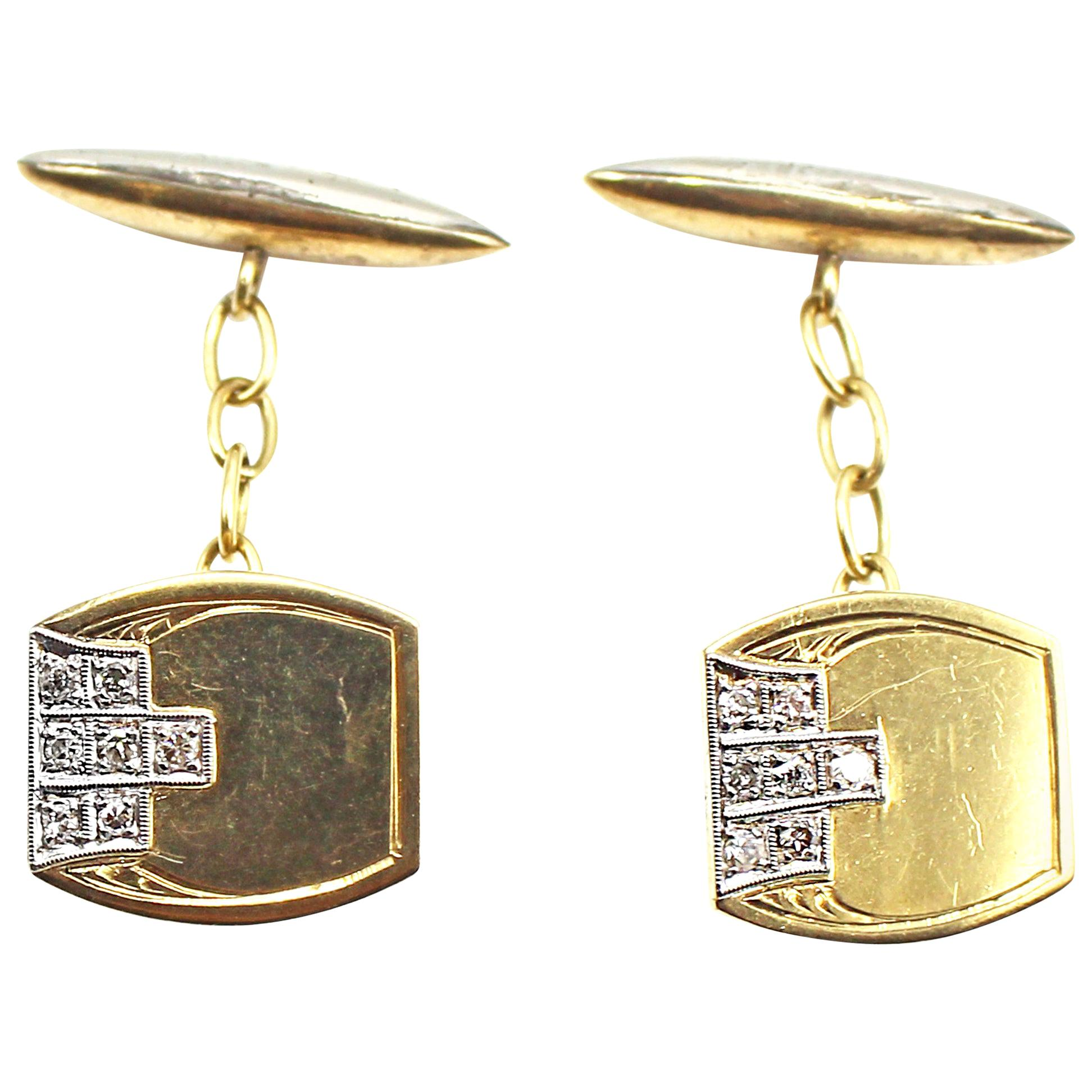 Art Deco Diamond Platinum 18 Karat Gold Cufflinks