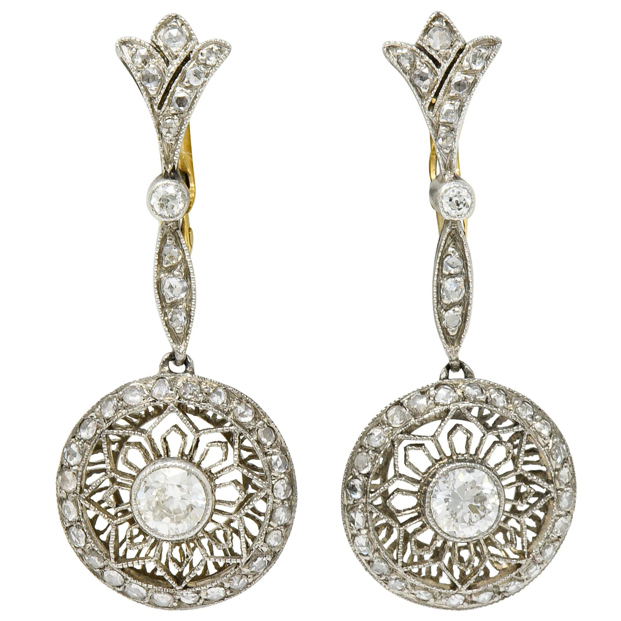 Art Deco Diamond Platinum 18 Karat Gold Drop Earrings