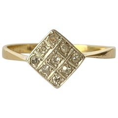 Art Deco Diamond Platinum and 18 Carat Gold Panel Ring