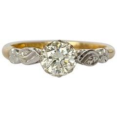 Art Deco Diamond, Platinum and 18 Carat Gold Solitaire Ring