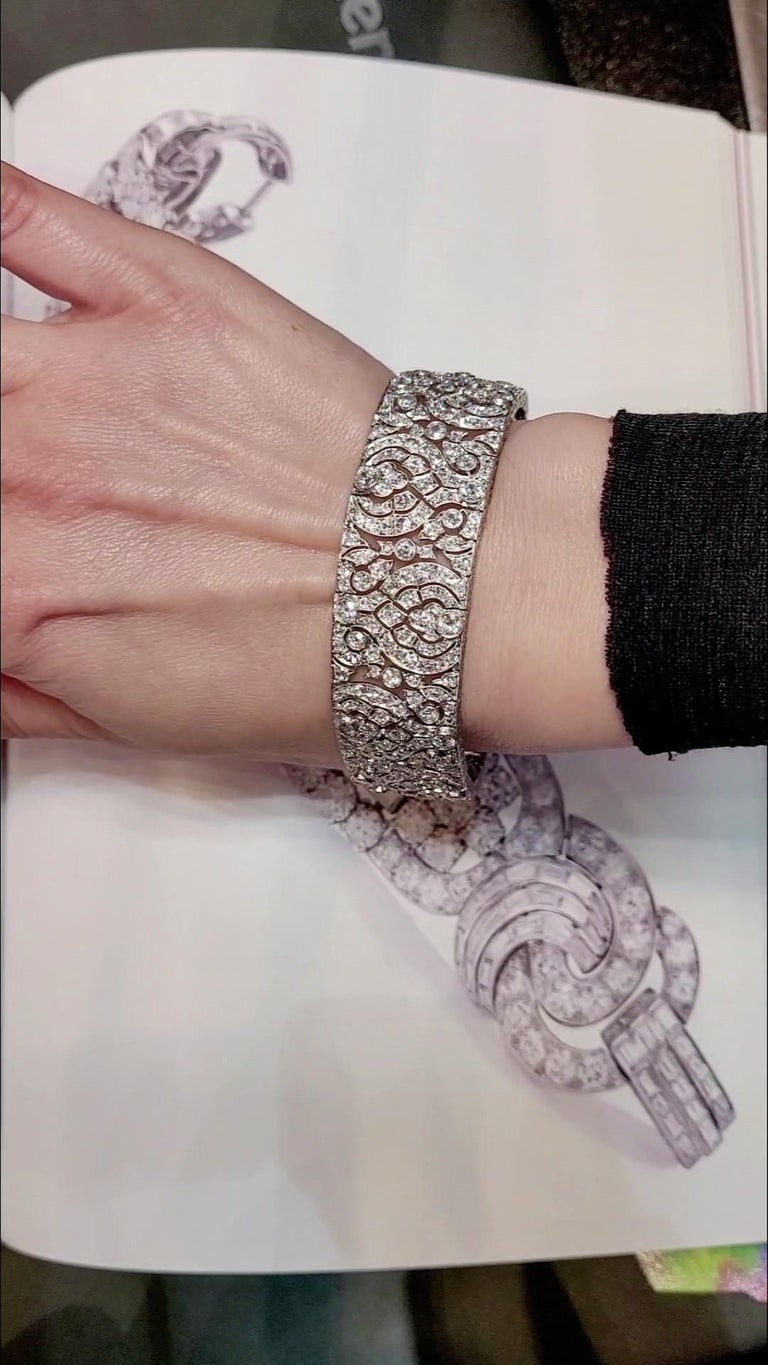 Art Deco style is characterized by bold geometry and decadent detail work.  Dated back to 1920-40s, the style still brings in glamour, luxury, along with  symmetrical designs. This elegant bracelet made in 1930s features 450 old-cut diamonds