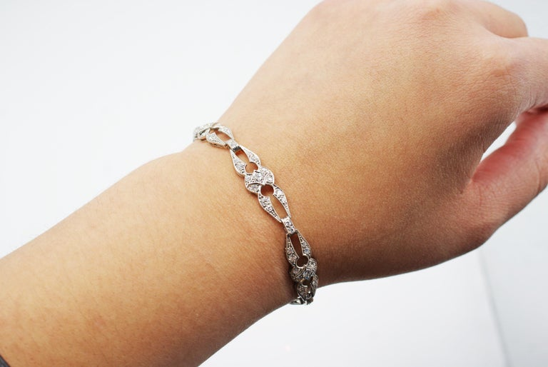 Old European Cut Art Deco Diamond Platinum Bracelet For Sale