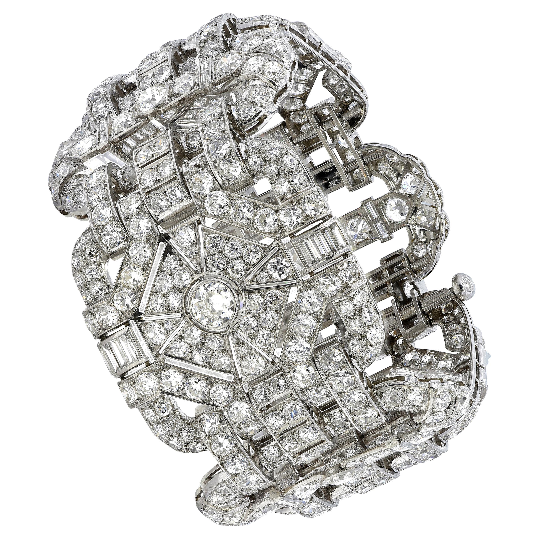 Art Deco Diamond Platinum Bracelet, One of a Kind