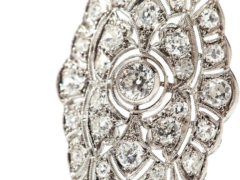 Art Deco Diamond Platinum Brooch In Good Condition For Sale In Berlin, DE