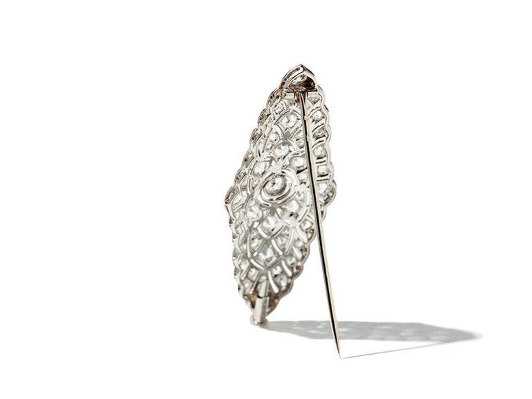 Women's Art Deco Diamond Platinum Brooch For Sale