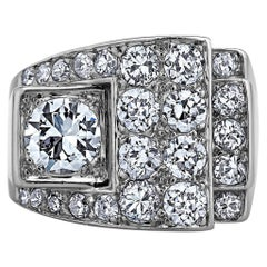 Art Deco Diamond Platinum Buckle Style Ring