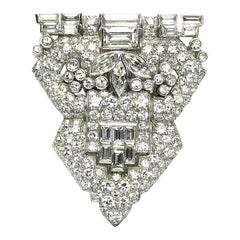 Art Deco Diamond Platinum Clip Brooch