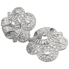 Art Deco Diamond Platinum Cloud Earclips