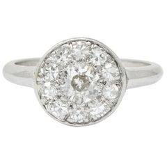 Art Deco Diamond Platinum Cluster Ring, circa 1930