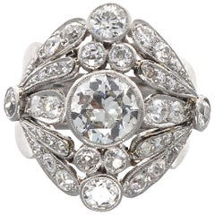Art Deco Diamond Platinum Cocktail Ring