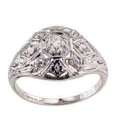 Art Deco Diamond Platinum Dome Ring