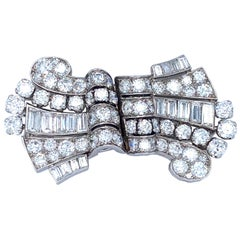 Art Deco Diamond Platinum Double Clip Brooch, circa 1930