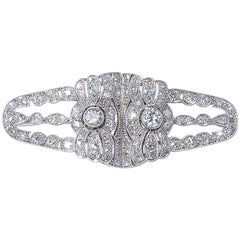 Art Deco Diamond Platinum Double Clip