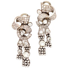 Art Deco Diamond Platinum Drop Dangle Earrings