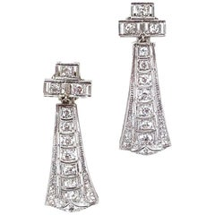 Art Deco Diamond Platinum Drop Earclips