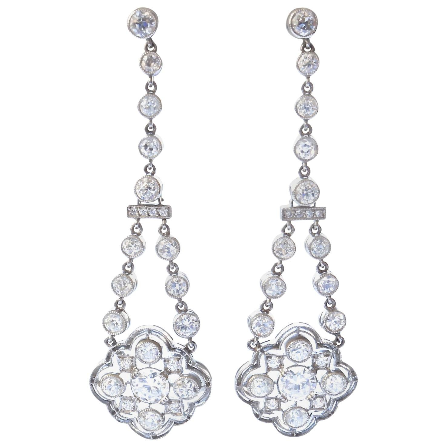 Art Deco Style Diamond Platinum Drop Earrings