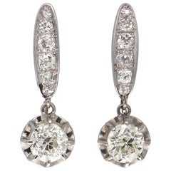 Art Deco Diamond Platinum Drop Earrings